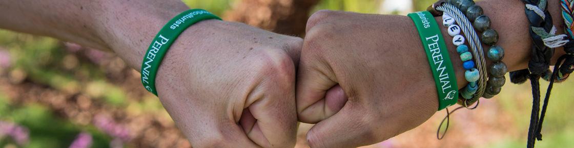 A fistbump between Perennial supporters