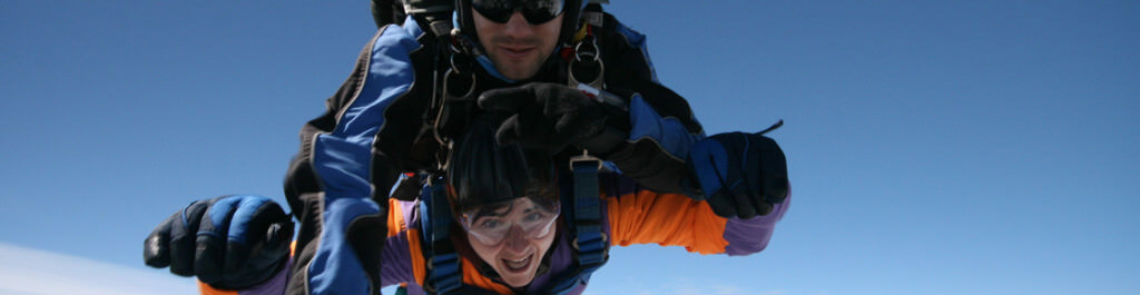 Perennial's Director of Marketing and Development, Anita Bates, during a tandem skydive in May 2015