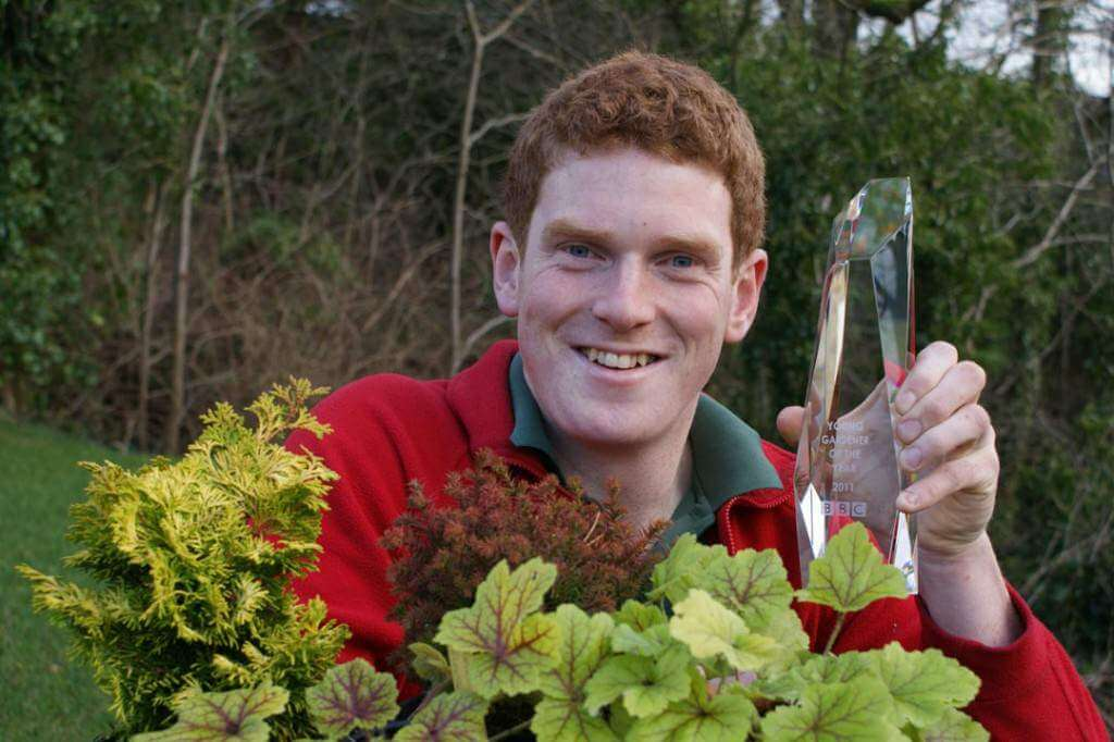 John Foley, with the BBC Young Gardener of the Year trophy