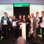The Grubby Gardeners receive their Perennial Champions awards from Rachel de Thame at the Party for Perennial 2015.