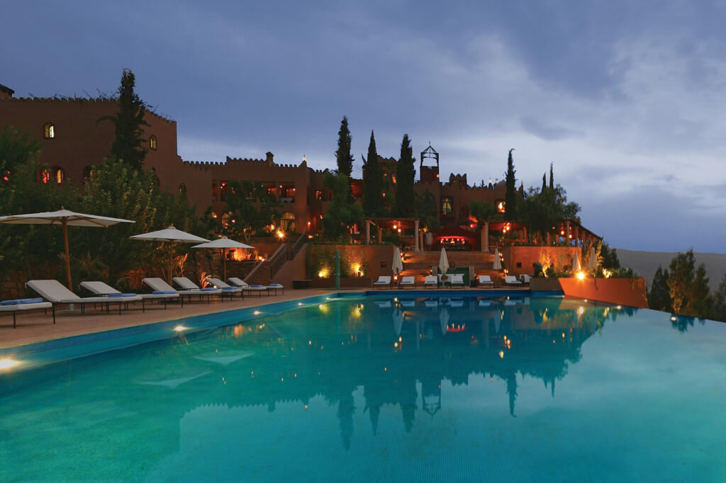 The view from the swimming pool at the Kasbah Tamadot