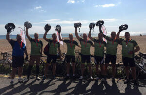 Our Extreme 3 Peaks Team at the finish line of the 2015 London to Brighton bike ride