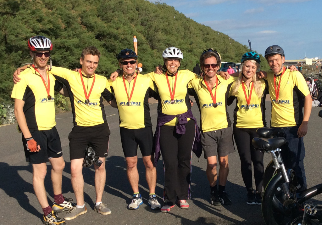 The 7-seater bicycle fundraising team at the London to Brighton bike ride